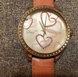 Ladies Fossil watch Pink Embossed leather band